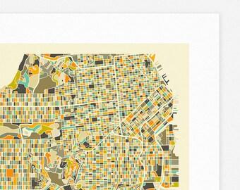 SAN FRANCISCO MAP (Giclée Fine Art Print, Photographic Print or Poster Print) by Jazzberry Blue