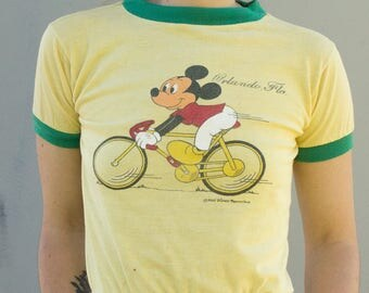 70s Vintage Mickey Mouse Kids or Sm Womens Ringer