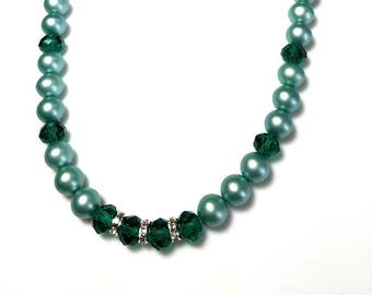 Satin Green Czech Glass Druk Bead Swarovski Crystal Necklace with Clear Rondelles Beaded Elegant Jewelry