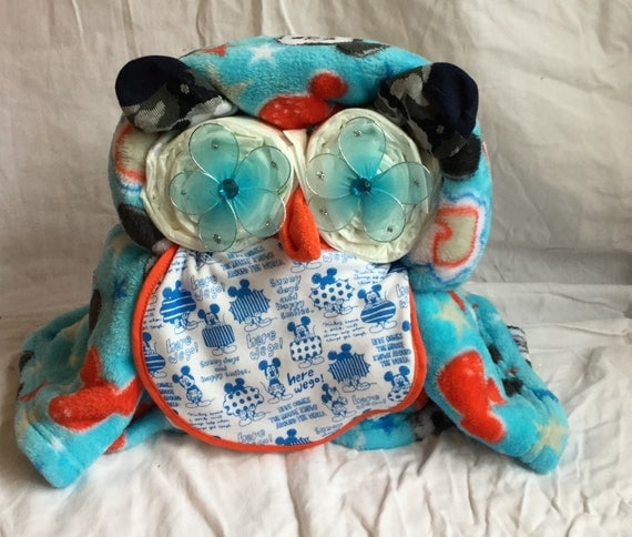 Blue Fleece Owl Diaper Cake Baby Shower gift