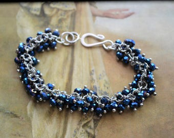 Beaded Bracelet, Glass Beads, Iridescent Blue, Hook Closure, 3mm, Multi Strand Bracelet, Blue Bracelet, Silver Bracelet, Glass Bead Bracelet