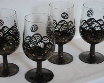 Hand Painted Wine Glasses, set of four - Black Lace