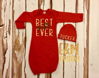 Red and Metallic Gold Girl Take Home Set, Red Gown and Hat Set, Newborn Coming Home Outfit, Baby Girl Shower Gift, Newborn Gown and Hat Set