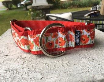 "Poppies for Calla -  1.5"" Martingale Collar"