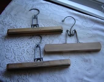 vintage wood hangers advertising hangers set of 3 storage and slacks or pants hangers