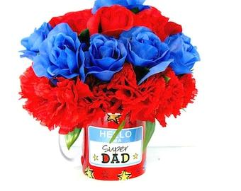 Father's Day mug bouquet, Father's Day gift arrangement, Floral arrangement, Mug centerpiece,  Father's Day celebration (FD25)