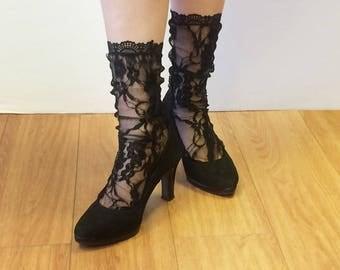 Chaussettes mi-haute en dentelle noire - Chaussette noire en dentelle - Chaussette mode - Cadeaux pour elle