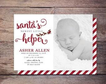 Santa's Little Helper Christmas birth announcement, holiday card, birth announcement, baby christmas card, PRINTABLE digital file – Asher