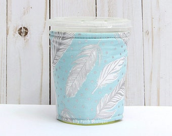Small Feathers Coffee Cozy, Misty Silver, Iced Coffee Cozy, Cup Sleeve, Eco Friendly, Insulated Cup Sleeve,