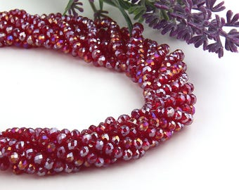 Burgundy-AB Luster, Faceted  Rondelle Chinese Crystal Beads, Crystal Rondelle Beads, 1 strand-135 pcs // BD-066