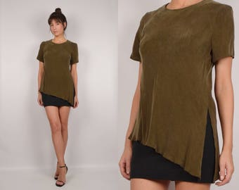 Vintage Olive Asymmetrical Tunic