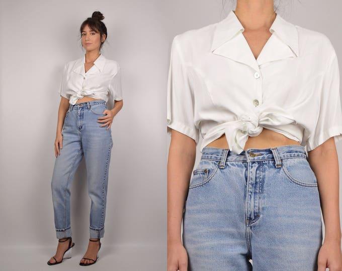 Vintage Minimalist White Button Up Top