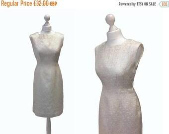 On Sale 1950's Dress - 50's Vintage Dress - Metal Zipper Dress - Ivory And Gold Brocade Dress