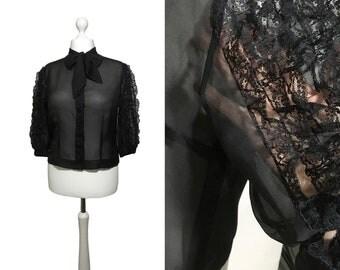 Black Lace 1950's Blouse | Big Sleeve Blouse | 50's Blouse | Diolen Strobel Bluse