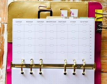 Personal Size Planner Inserts, monthly calendar for use with Filofax Personal, Kikki K, Kate Spade, from The Awesome Planner Set {M145S}