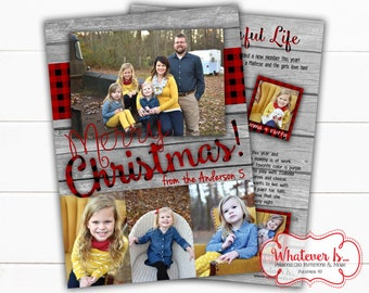 Buffalo Plaid Rustic Christmas Card | Rustic Wood Christmas Card | Buffalo Plaid Christmas Card | Picture Christmas Card | Year In Review