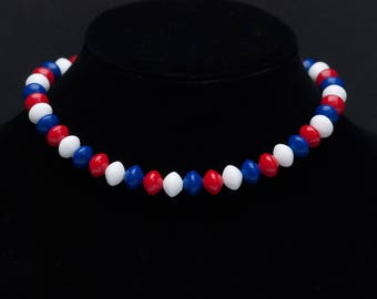 Vintage Patriotic Necklace, 1960s Signed Crown Trifari Choker Bead Necklace, Chunky Necklace Red White and Blue
