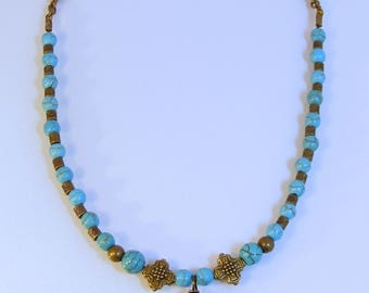 Turquoise Diamond Antique Brass Cross Necklace