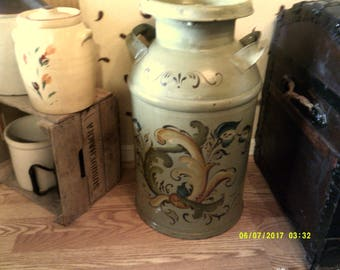 Milk can painted  in the Norwegian style of Rosemallng- Pick up only