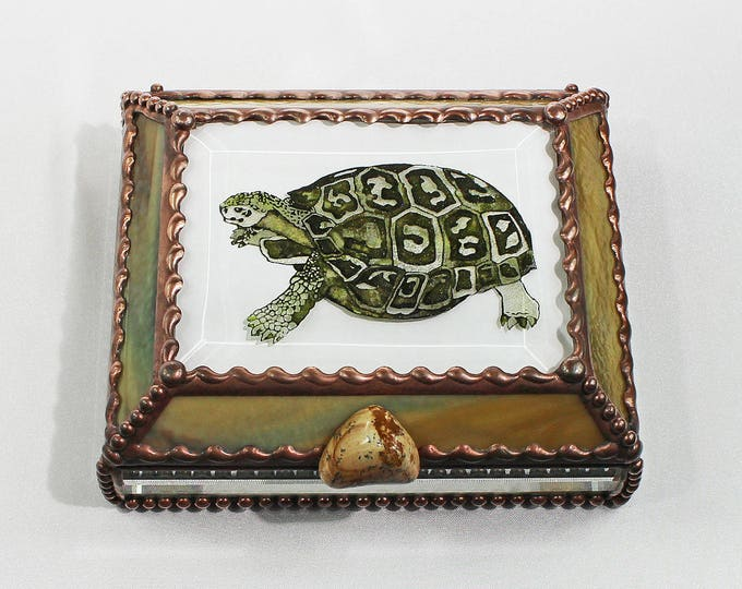 Etched Hand Painted Turtle Treasure Box