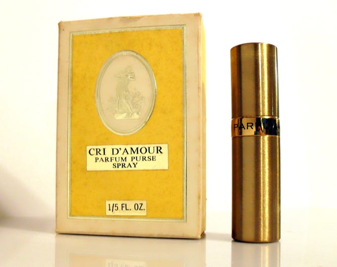 Vintage Perfume 1960s Cri d'Amour by Aloe Creme 1/5 oz Pure Parfum Refillable Purse Spray and Box DISCONTINUED