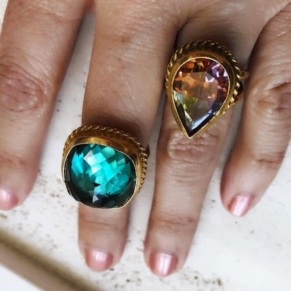Green Amethyst Ring and Multi Quartz Ring, Statement rings