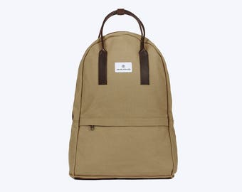 No. 12 Canvas Backpack Beige, Canvas Backpack, Beige Laptop Bag, Laptop Backpack, Beige Backpack, Bicycle Bag, Canvas and Leather Backpack