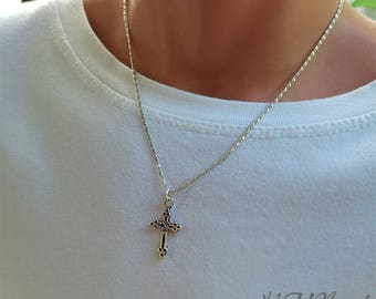 Boys Cross Necklace Sterling Silver Chain Teen Boy Children Religious Jewelry Confirmation First Communion Baptism Healing Gift For Kids