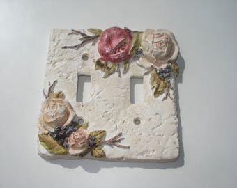 Vintage Flower Light Switch Plate -  Double Lightswitch Cover- Ceramic Flower Decor 1980's