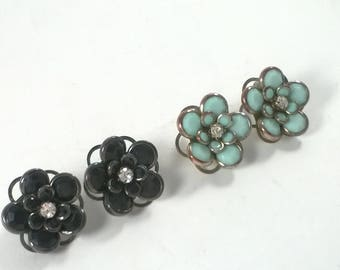 Vintage Blue and Black Earrings - Rhinestone Daisy Flower Pierced  - Fashion Jewelry