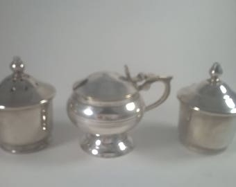 Vintage Salt, Pepper and Mustard Set - Silver Plated Cruet Table Set - 1960s
