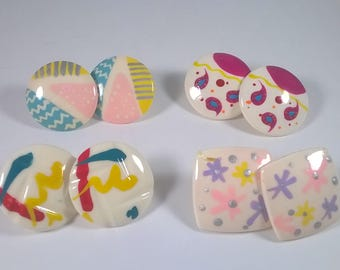 80's Earrings Lot - 4 Four Pairs Hand painted Round Square - Retro Fashion Jewelry 1980s