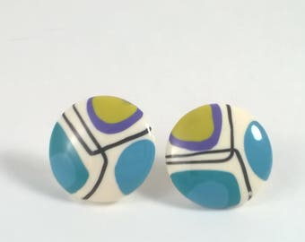 Vintage Bright Button Earrings - Pierced Round Green and Blue Fashion Jewelry - 1980s