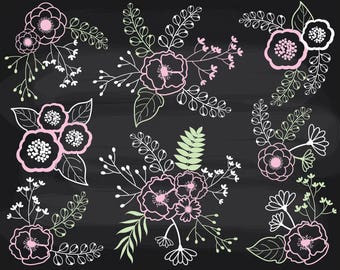 50% OFF SALE Chalkboard Floral Clipart - Vector Flowers Clipart, Chalkboard Clipart, Floral Bouquet Clipart, Chalkboard Flowers Clip Art