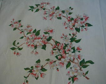 """Vintage Tablecloth, Wilendur Apple Blossoms, Pink Blossoms on White, Cotton Tablecloth, 54 x 69"""", Excellent Condition"""