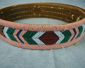 Fabulous Vintage Southwest, Native American Hand Beaded Belt, Gorgeous Colors, Seed Beads on Leather, One of a Kind, Classic