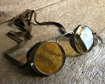 Antique Motoring Safety Goggles, Steampunk, Wellsworth USA, Motorcycle Sunglasses