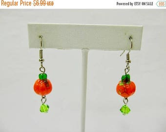 ON SALE Vintage Hand Blown Glass Beaded Pumpkin Earrings Item K # 2131