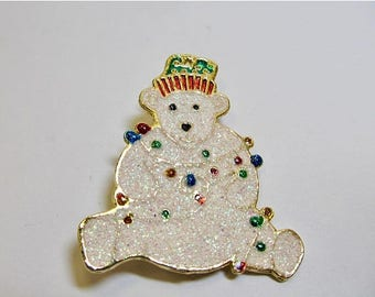 ON SALE Retro Sparkling Enameled Christmas Polar Bear Pin Item K # 3151