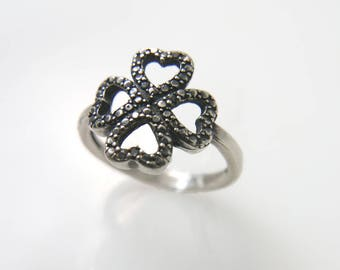 Clover silver ring. Flower ring, Floral, Irish, Luck ring , Four Leaf clover ring, Shamrock ring, clubs ring, four heart ring