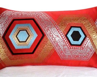 Red Satin Silk Luxury Pillow Cushion with Metallic Silver Gold Black & Blue Woven Embroidered Oriental Hexagon design from rare Japanese Obi