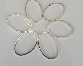 Silver Oval Circle Hoop Connectors 6 each Shiny Just enough Supplies