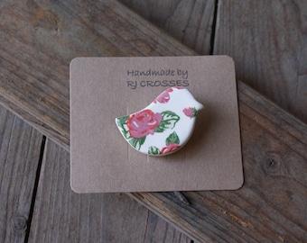 Roses ceramic bird brooch