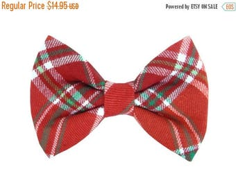 ON SALE READY to Ship- Christmas Flannel Dog Bow Tie; Holiday Dog Bow: Christmas Flannel