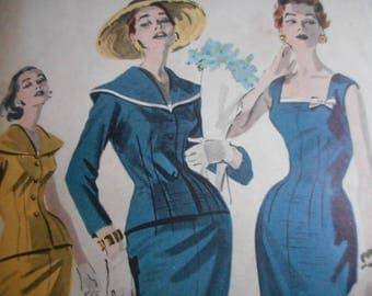 Vintage 1950's Butterick 8033 Dress and Jacket Ensemble Sewing Pattern Size 12 Bust 32