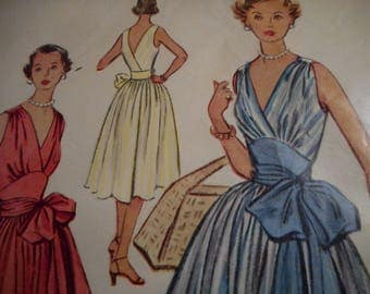 Vintage 1950's McCall's 9228 Wrap-Around Dress Sewing Pattern Size 12 Bust 30