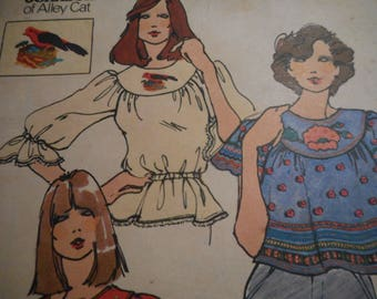 Vintage 1970's Butterick 3851 Betsey Johnson Blouse, Applique and Embroidery Transfers Sewing Pattern Size 12 Bust 34