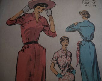 Vintage 1950's Advance 5465 Dress Sewing Pattern Size 16 Bust 34
