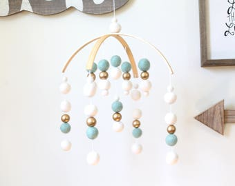 MINT / WHITE / GOLD Felt Ball Mobile, Baby Mobile, Crib Mobile, Nursery Cot Mobile, Pom Pom Mobile, Nursery Mobile, Gender Neutral