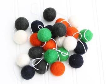 Felt Ball Garland for Playroom or Bedroom, Pom Pom Garland, Felt Balls, Felt Ball Bunting, Nursery Decor, Halloween Decor, Boys Room Garland